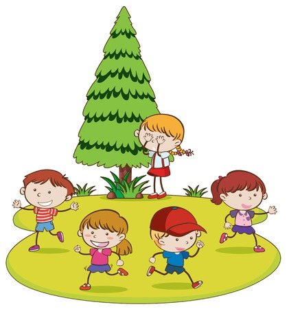 Kids Playing Hide and Seek in Park illustration
