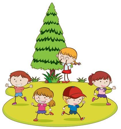 Niños jugando al escondite en la ilustración del parque