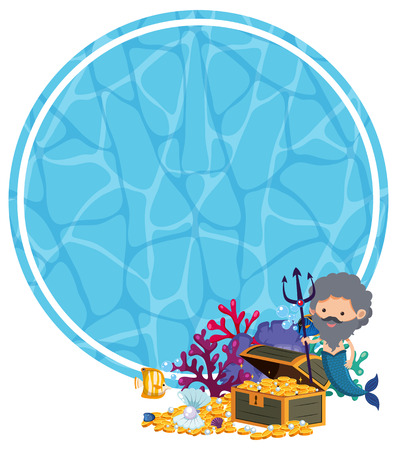 Underwater Template with Merman and Treasure illustration Illustration