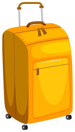 Yellow Luggage on White Background illustration
