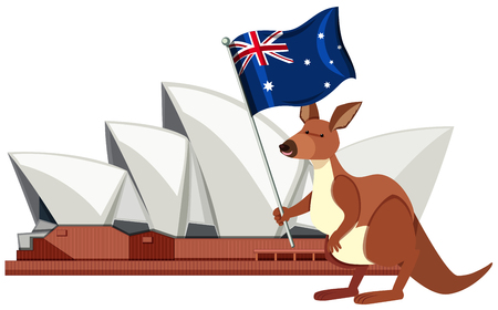 Sydney Australia Travel Landmark Element illustration  イラスト・ベクター素材