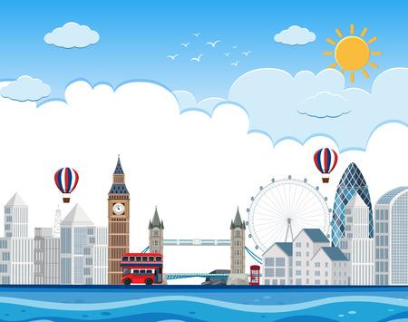 London cityscape on river illustration