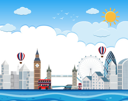 London cityscape on river illustration