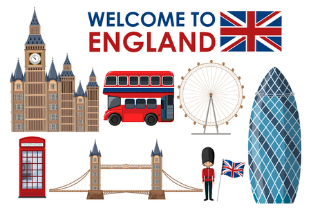 Welcome to England landmarks illustration