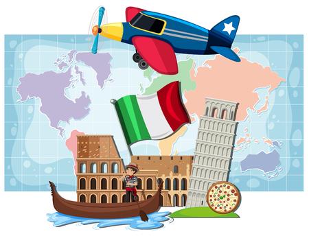 Italian landmarks infront of map illustration