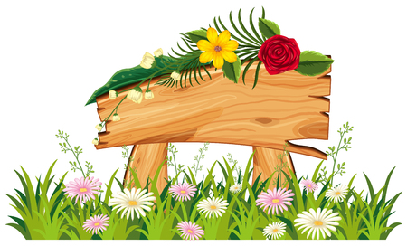 Wooden sign in grass with flowers illustration Illustration