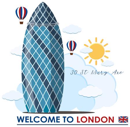 A Gherkin Building in London illustration