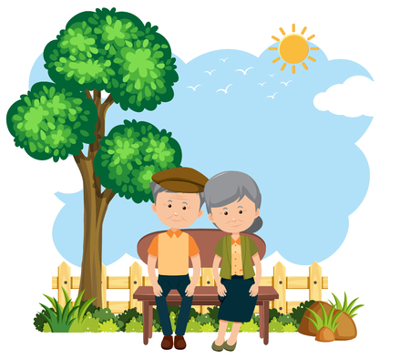 Elderly couple sitting on a bench illustration Illustration