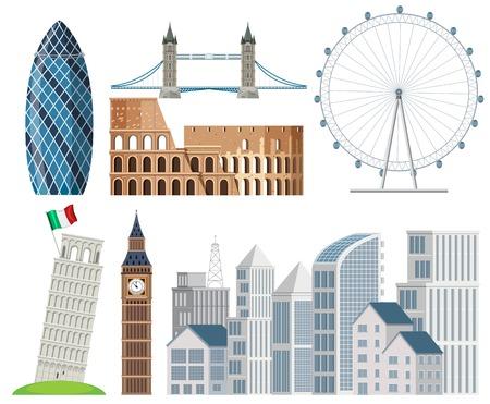A Set of International Landscape illustration