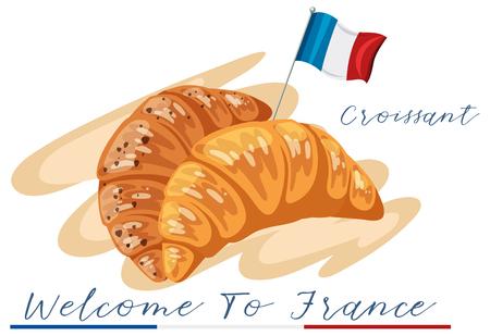 Welcome to france croissant illustration Ilustração