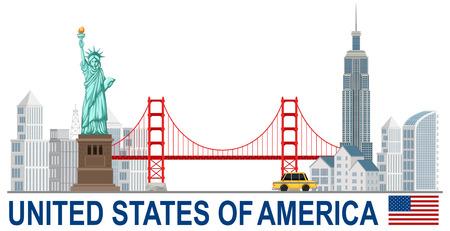 United states of america with landamrks illustration