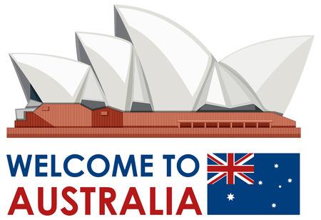 Sydney Australia Opera House Landmark illustration