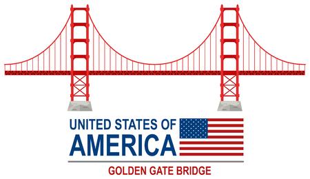 Golden gate bridge america illustration