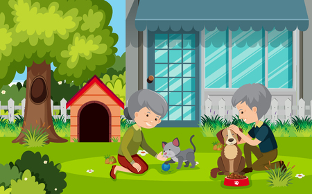 Elderly couple outsie with pets illustration