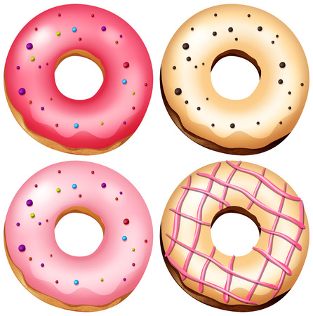 A Set of Delicious Donut illustration Stock Illustratie
