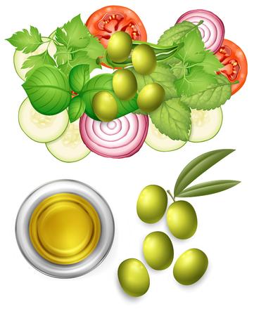 Salad and Olive Oil Dressing illustration Illustration