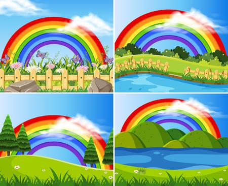 Set of rainbows in green fields illustration Vettoriali