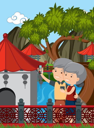 Elderly Couple Visit China illustration Illustration
