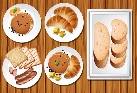 A Set of Breakfast on Wooden Table illustration Stock Vector - 103619839