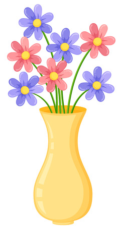Yellow vase with purple and pink flowers illustration