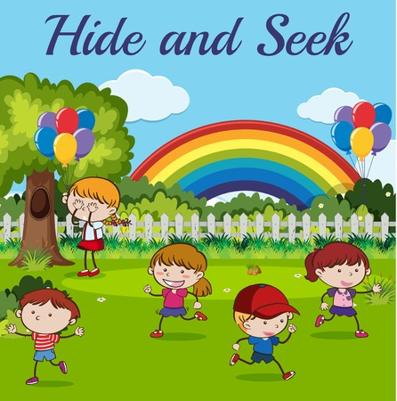 Children playing hide and seek illustration Çizim