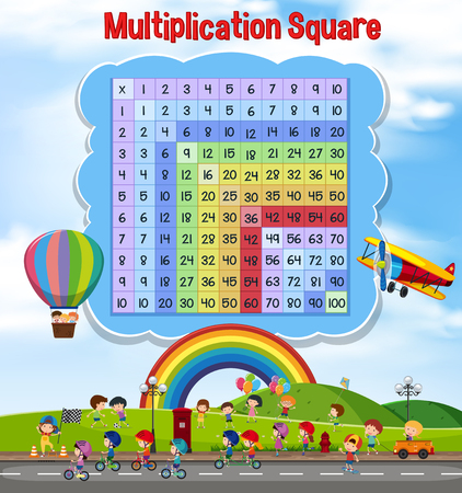Multiplication square with children playing illustration Illustration