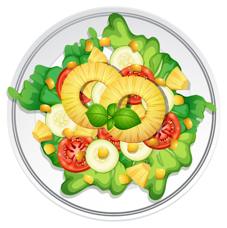 Top view of summer salad illustration