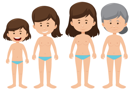 Set of female ageing figures illustration Illustration