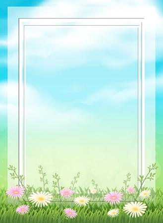 A Beatiful Natural Flower Frame illustration