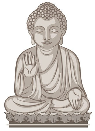 A Buddhist Images on whate Background illustration
