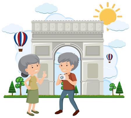 パリのイラストに古いカップル旅行