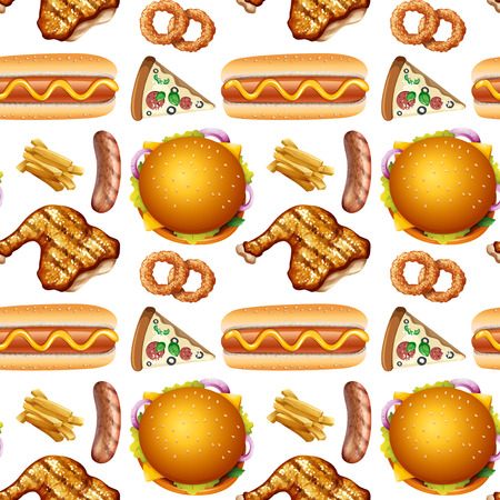 Pattern of different fast food illustration Illustration