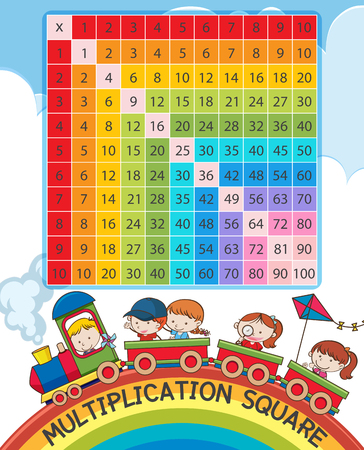 Multiplication square with rainbow and children on train illustration