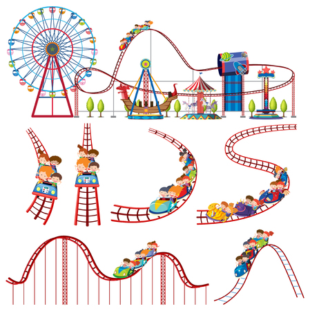 A set of fun park roller coaster illustration
