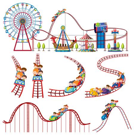 Zestaw ilustracji kolejki górskiej w parku rozrywki