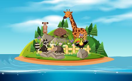 An Island and Exotic Animals illustration Illustration