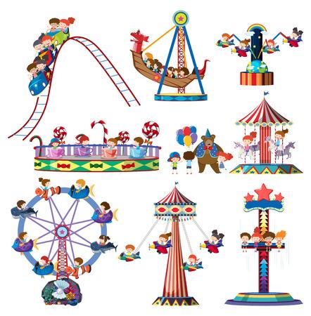 Un conjunto de atracciones en el parque temático ilustración. Ilustración de vector