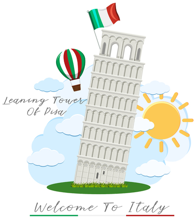 Welcome to italy with leaning tower of pisa illustration Çizim