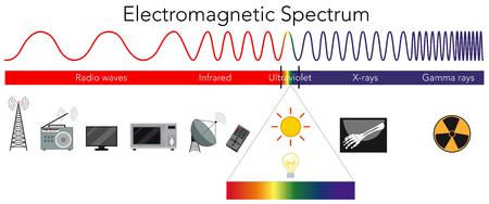 Illustrazione del diagramma dello spettro elettromagnetico di scienza