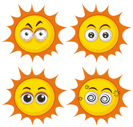 Set of suns with different expressions illustration