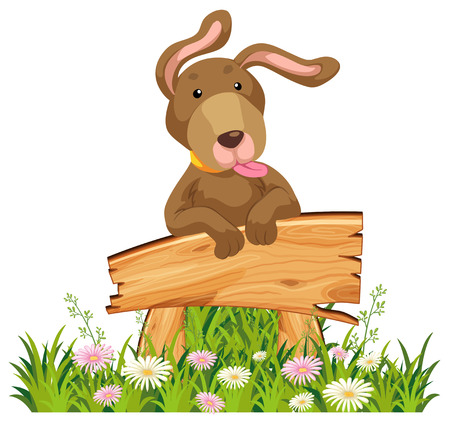 A brown dog leaning against a blank sign illustration Illusztráció
