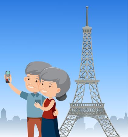 An Elderly Couple Travel Paris illustration