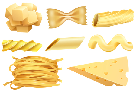 A Set of Pasta and Cheese illustration