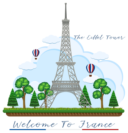 Welcome to France with eiffel tower illustration