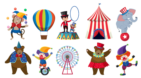 Set of various circus characters illustration