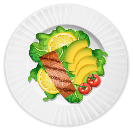 A Plate of Salmon and Salad illustration