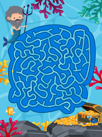 A Maze Puzzle Game Underwater Theme illustration Illustration
