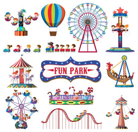 A set of fun park rides illustration
