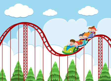 A roller coaster ride at theme park illustration