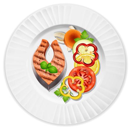 A closeup steak and salad illustration